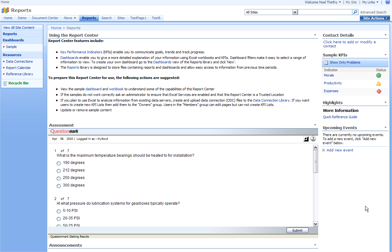 Screenshot of Questionmark Assessment embedded in SharePoint