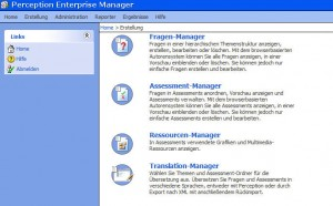 Screenshot of Questionmark Perception Enterprise Manager - German Interface
