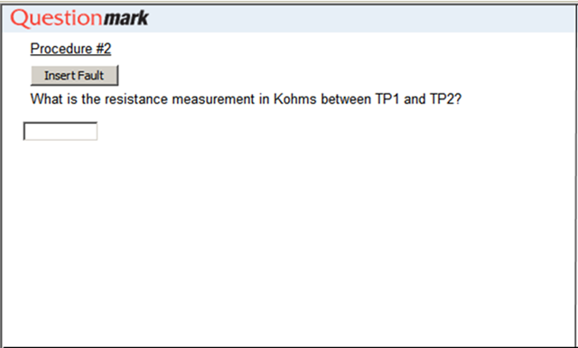 What is the resistance measurement in Kohms between TP1 and TP2?