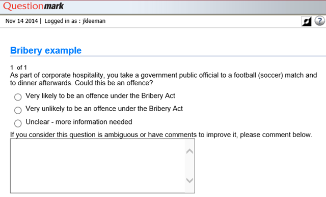 Example of a question with a comment box