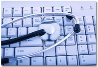 Photo of doctor stethoscope on computer keyboard